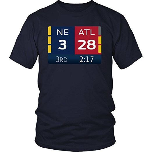 New England Patriots T-shirt. Remember the final score. 3rd Quarter score printed on the front. Final score printed on the back. Colors: Navy and Blue MADE TO ORDER GRAPHIC DESIGN on Gildan 64000 Unisex Softstyle T-Shirt Sizes: small-3XL All sizes are unisex Tracking number included in shipping confirmation. Please feel free to contact me with any questions