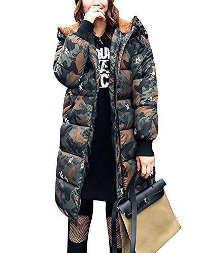 Camouflage Veste Épais Longue Duvet Section Femme En Plus tEwB7zAq