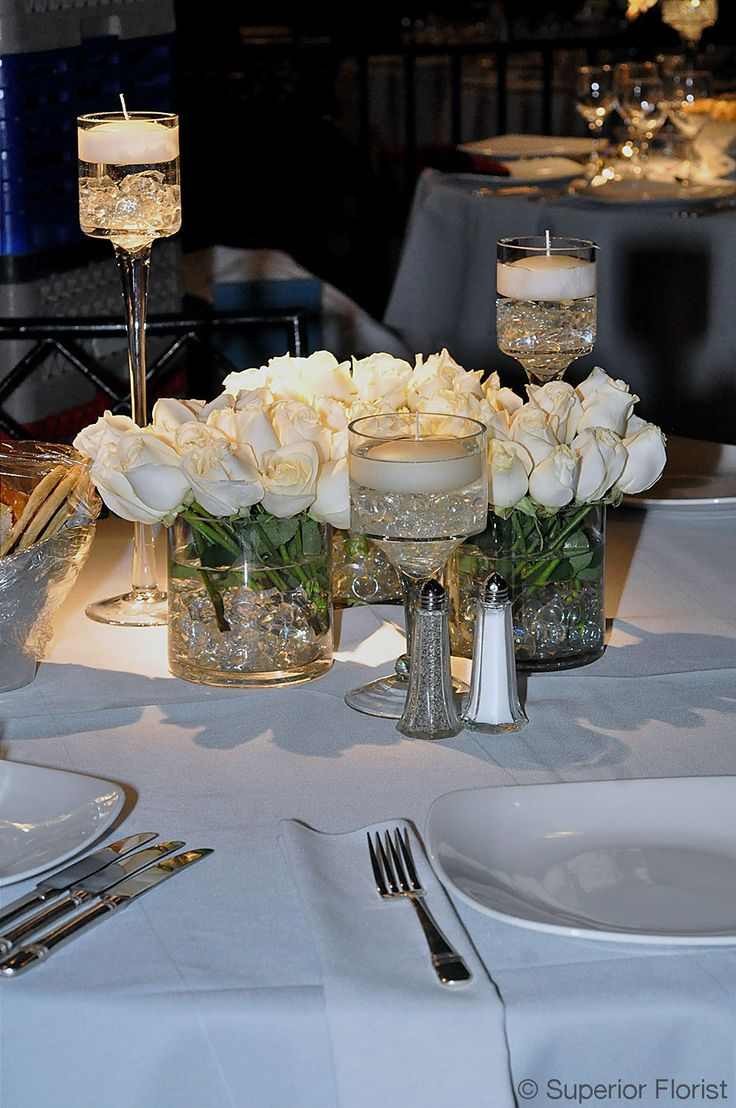 Superior florist centerpieces group of three glass