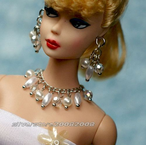 Handmade Barbie doll Jewelry necklace earrings for Barbie doll 120A