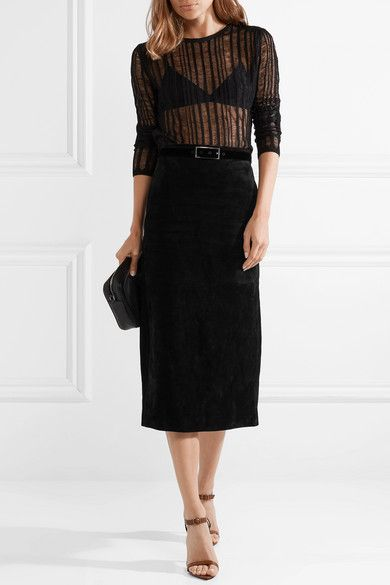 395a12e377 SAINT LAURENT Suede midi skirt $3,190 There's just something so cool yet  timeless about a leather skirt. Saint Laurent's midi version has been  crafted in ...