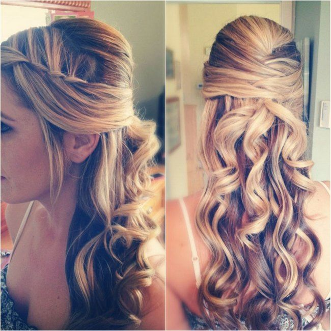A half-up, half-down braided twist hairstyle criss-crosses the top section of the hair bringing it to a luscious set of curls.