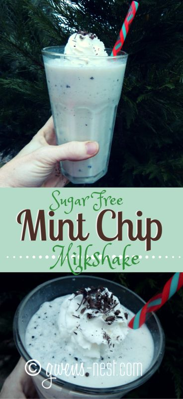This awesome sugar free mint chip milkshake keeps me out of the drive through line, and I can enjoy it year round!