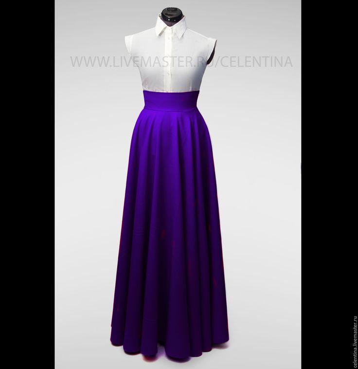 Купить Юбка в пол, длинная юбка, Фиолетовая юбка, юбка макси, юбка солнце - юбка