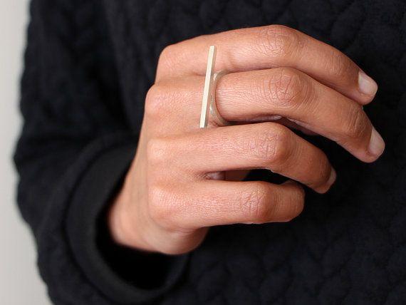 RING zilver hedendaagse sieraden geometrische stapelbare stapelen ring horizontale lijnen - lineaire collectie