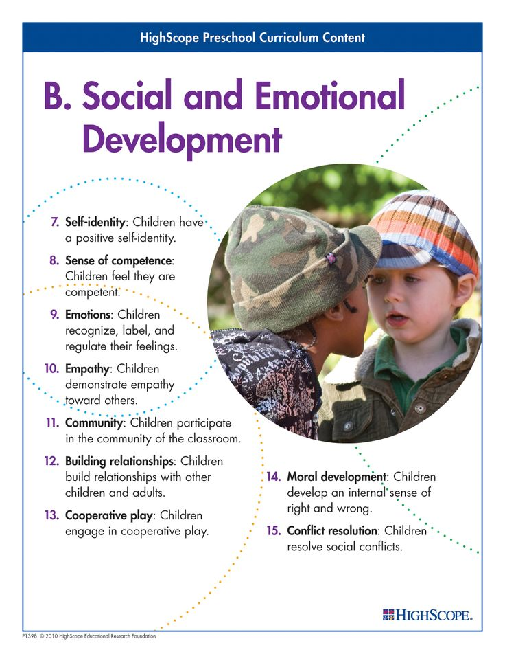 Young children's social and emotional development is vital to their overall well-being and affects their success in school and their ability to learn in all subject areas.