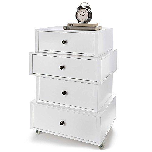 Elegant 4 Drawer Bedside Cabinet