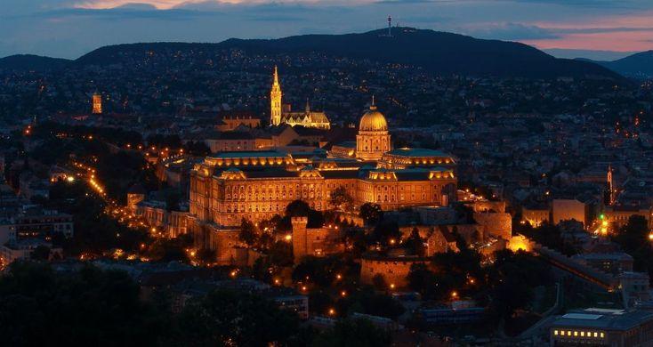Buda Castle by Night by Laszlo J.Kremmer