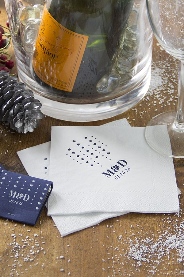 These elegant personalized cocktail napkins can dress up your winter wedding. Start designing yours at ForYourParty.com