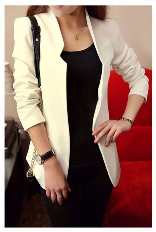 2015 Spring Autumn New Fashion Long Sleeve None Button Women Short Slim Suit Jacket Plus Size White Black Red Blue