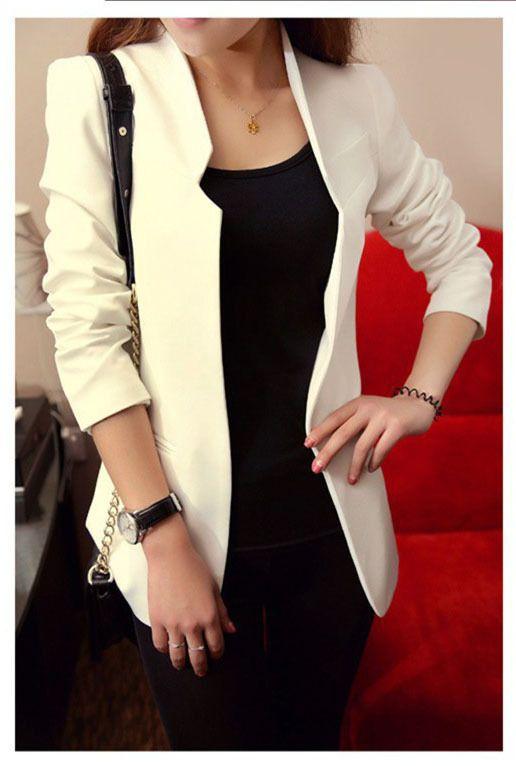 2015 Spring Autumn New Fashion Long Sleeve None Button Women Short Slim Suit Jacket Plus Size White Black Red Blue