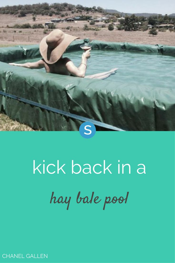 You can daydream all you want about diving into the cool blue water of your very own pool, or you can go and build yourself a hay bale swimming pool.
