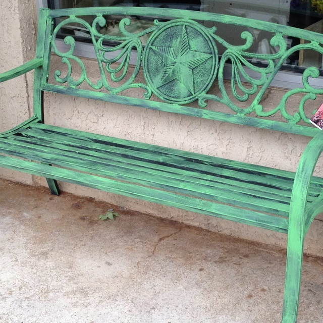 Painted outdoor bench... could do this to our bench
