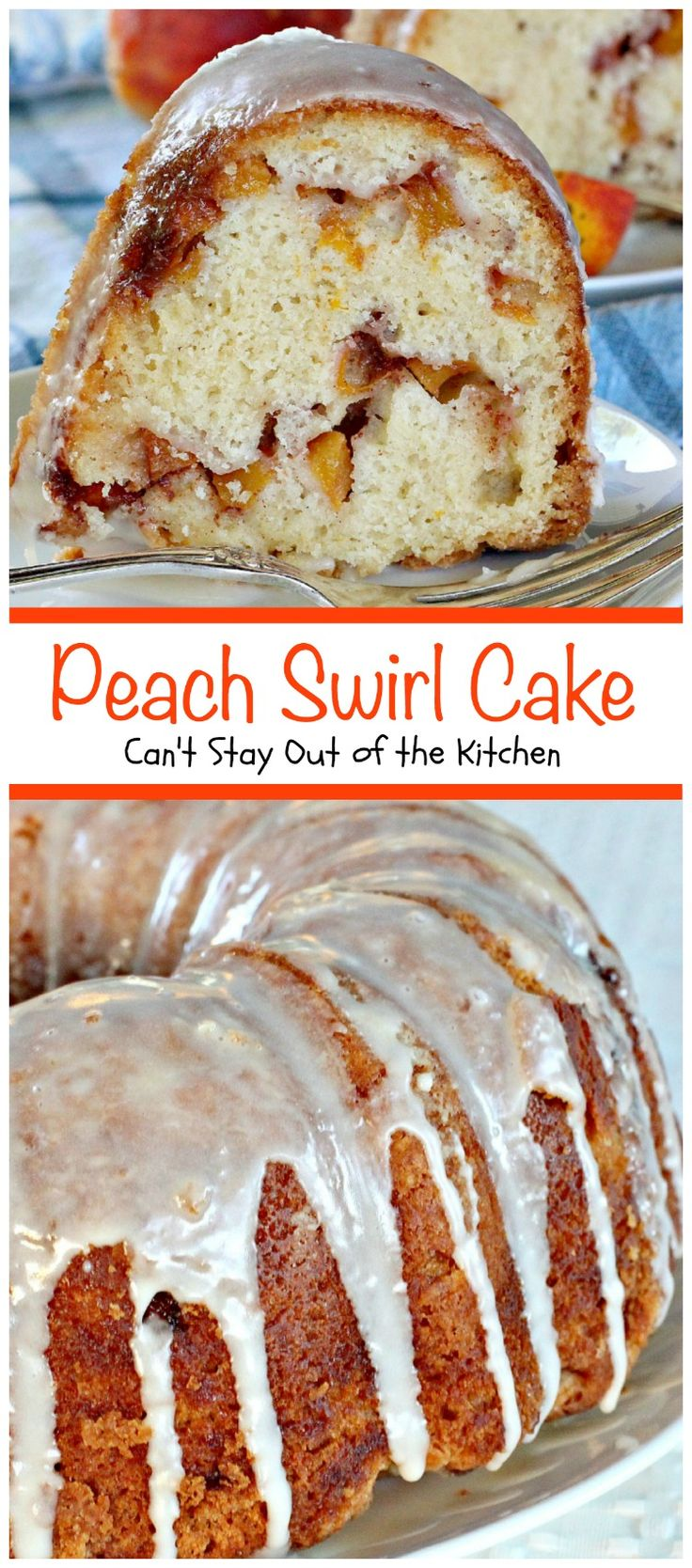 Peach Swirl Cake | Can't Stay Out of the Kitchen | this lovely #cake is fantastic. It has #peaches swirled into the batter and is glazed with vanilla icing. Perfect for company or potlucks. #dessert