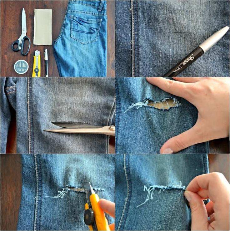 comment se faire un jean troué femme - les matériaux nécessaires