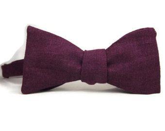 Plum Pre-Tied Bowtie Purple Bowtie by MyLittleBlueBow on Etsy