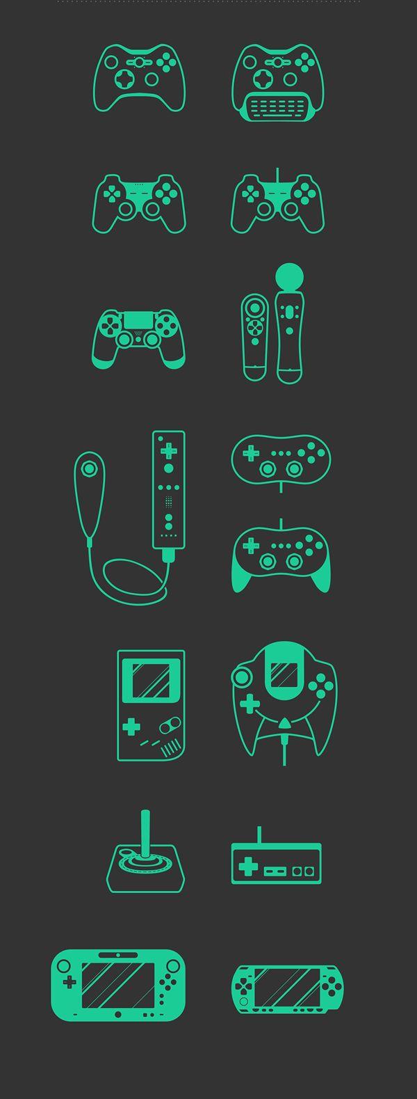 Free Game Set by Radoslav Krumov, via Behance#Minimalist #Illustration #icon