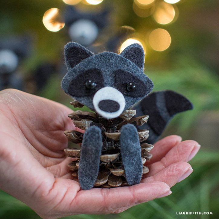Felt and Pinecone Raccoons
