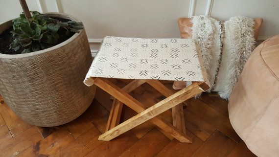 Maybe I could make a stool with the worn out directors chair . . . .X-Bench  Mali mudcloth x bench with salvaged maple by MindaHome