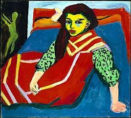 """Ernst Kirchner  SEATED GIRL 1910 o/c 31.75 x 35 7/8"""" Minneapolis Inst. of Art GERMAN EXPRESSIONISM"""
