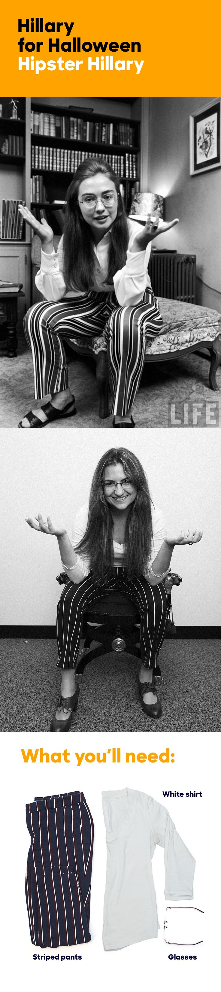 "LIFE magazine featured Wellesley College's first-ever student commencement speaker—Hillary Rodham—in its graduation round-up, ""The Class of '69."" On the cusp of the '70s, Hillary donned oversize wire-frame glasses, strappy leather sandals, and psychedelic striped pants for the LIFE photoshoot. Channel her hipster style for Halloween! For more Hillary Clinton-inspired costumes, click this pin."