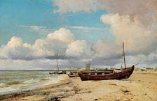 Carl Neumann (1833-1891):   Boats on the beach, Skagen, 1869