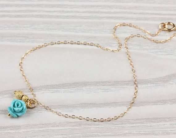 Rose gold anklet Turquoise anklet gold ankle by OlizzJewelry