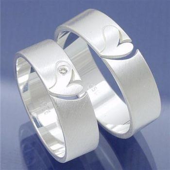 Verlobungsringe Freundschaftsringe Silber mit offenem Herz