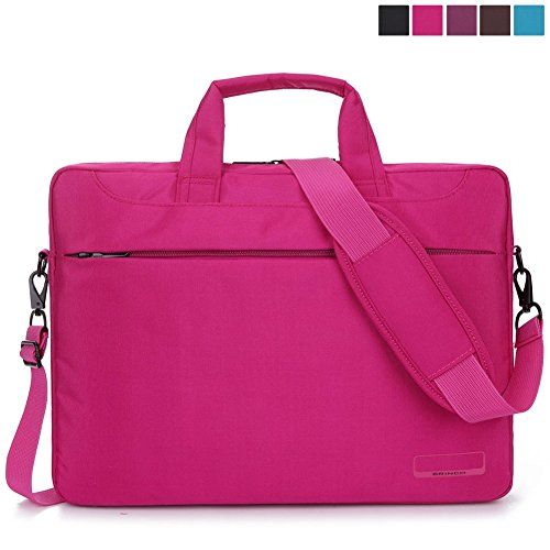 BRINCH® 15.6 Inch Oxford Fabric Lightweight Laptop Shoulder Case Messenger Bag For 15 - 15.6 Inch Laptop / Notebook / MacBook / Chromebook Computers with Shoulder Strap Handle and Pockets (Pink)