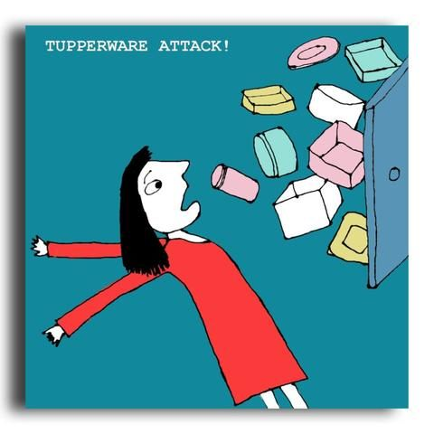Tupperware Attack greeting card (CR26)