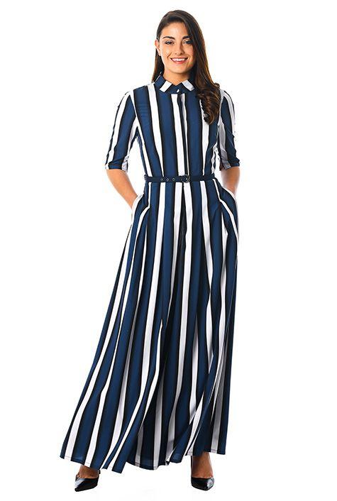 Bold stripe crepe palazzo jumpsuit #eShakti