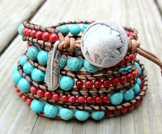 Native American inspired leather wrap bracelet that wraps around your wrist five times and it features a 3 inch extender that makes the length adjustable.   Made with:  - Sterling silver feather charm - natural turquoise stones( Robins egg blue) - red coral - Rustic light brown leather - Native American chief closure - Length measures 38.5 inches - 3 loop extension measures 3 inches - Will fit wrist sizes up to 7 inches wide  Please indicate your wrist size at the time of purchase so I can…