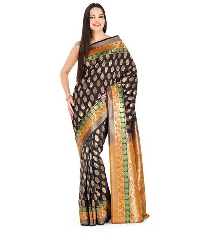 Black Silk Jacquard Saree | Fabroop