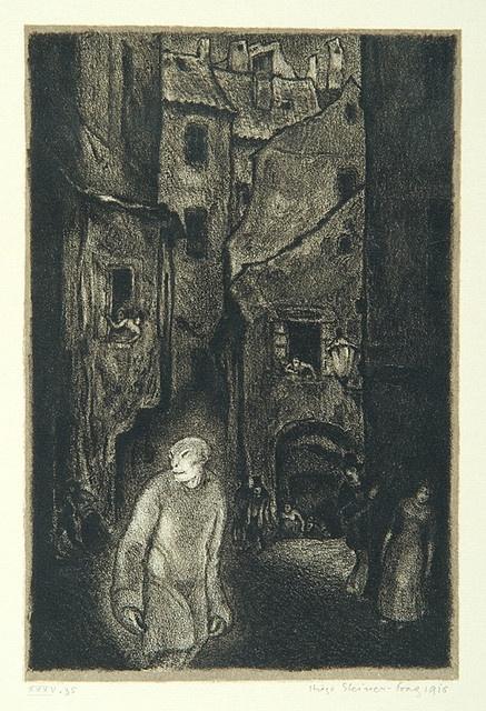"""The appearance of the Golem,"" page 6 from the book ""Der Golem"", Hugo Steiner-Prag"