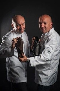 Jacques and Laurent Pourcel and the GT1pro Magister #pourcelbrothers #shoes #chefwear #chauddevant #chef #chefs