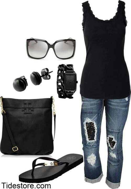 Black tank and jean capri outfit
