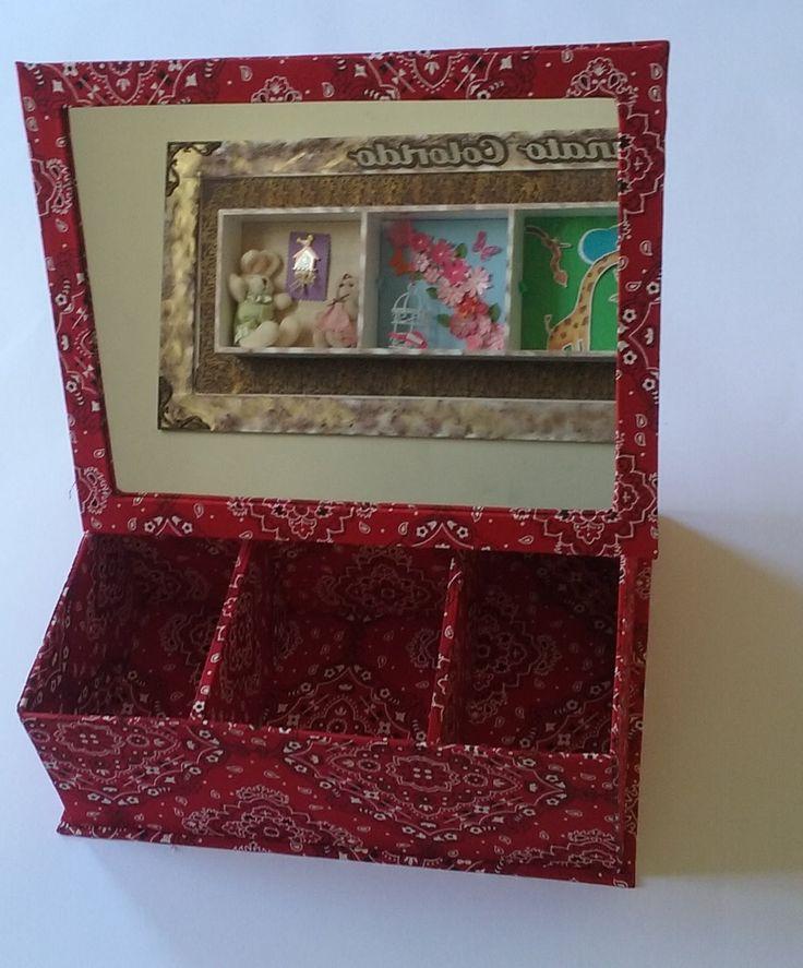 Artesanato Colorido - Aula porta maquiagem com espelho em cartonagem