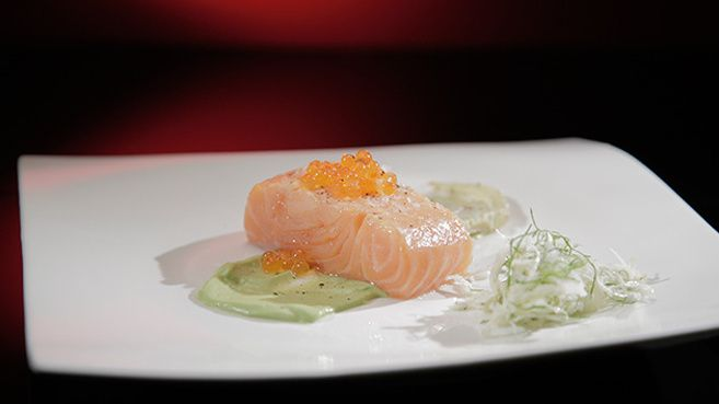 Confit Salmon with Roasted Fennel and Avocado Mousse
