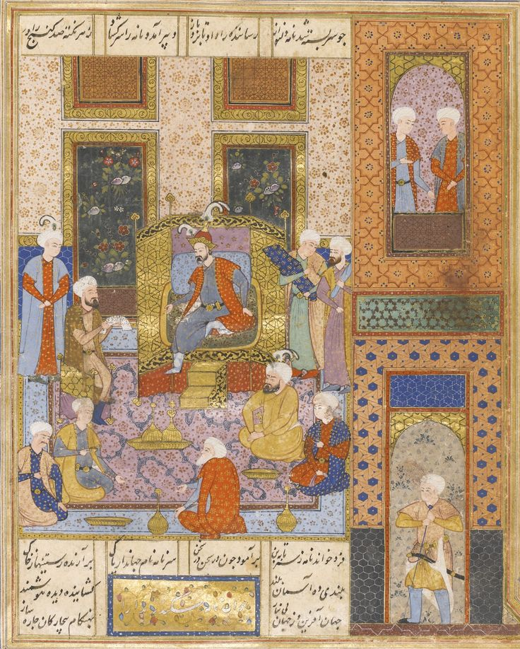 AN ILLUSTRATED AND ILLUMINATED LEAF FROM A MANUSCRIPT OF KHAMSA'S NIZAMI: DARA LISTENING TO ISKANDER'S LETTER, PERSIA, SAFAVID, SHIRAZ, 16TH CENTURY