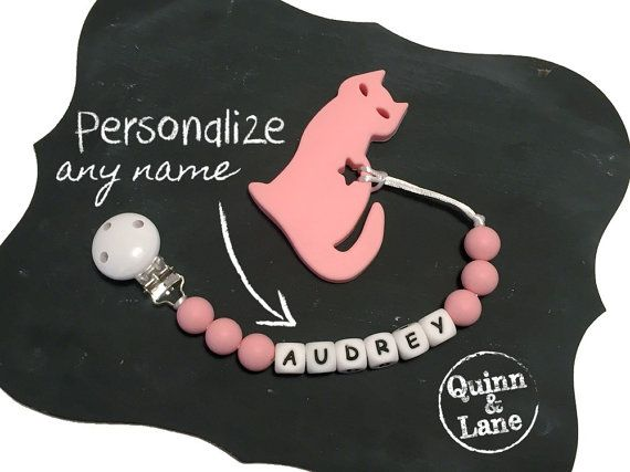 Custom PERSONALIZED Silicone Teething Pacifier Clip with Cat