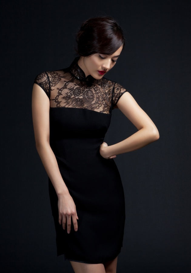 Short Black Lace Qipao