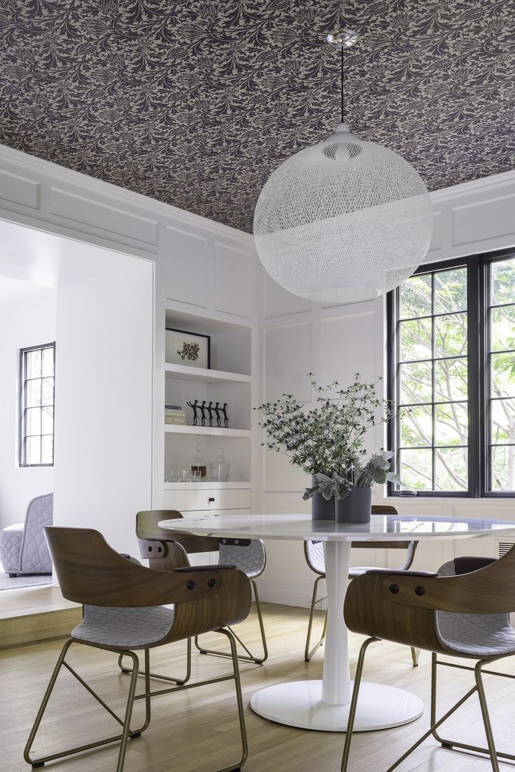 Hacin + Associates home in Newton with wallpaper on the ceiling by William Morris