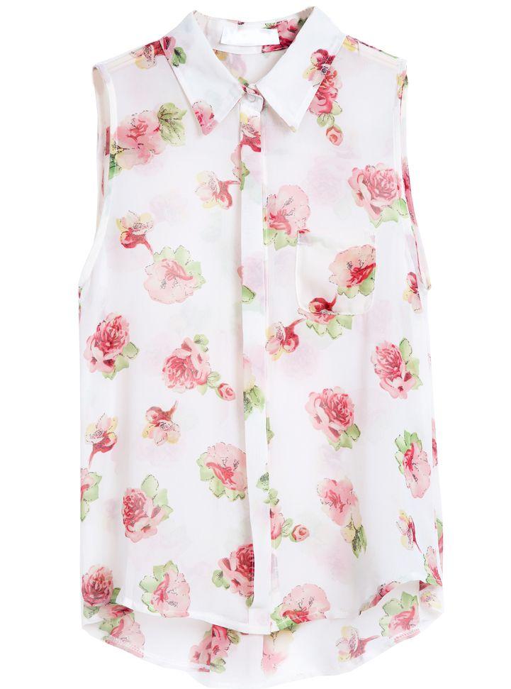 White Lapel Sleeveless Floral Chiffon Blouse - Sheinside.com