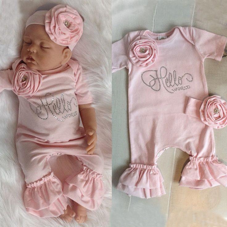 7093a99cdd1 Newborn Baby Girls Flower Romper Bodysuit Jumpsuit Headband Outfits Clothes  Set