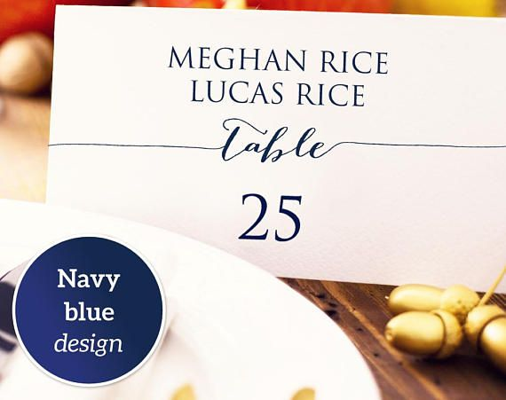 Couples Place Card: Instantly download, edit and print your own place cards for weddings, receptions, and special events. This place card has room for two names. These templates are for printing onto quality card stock and can be trimmed on the crop marks.