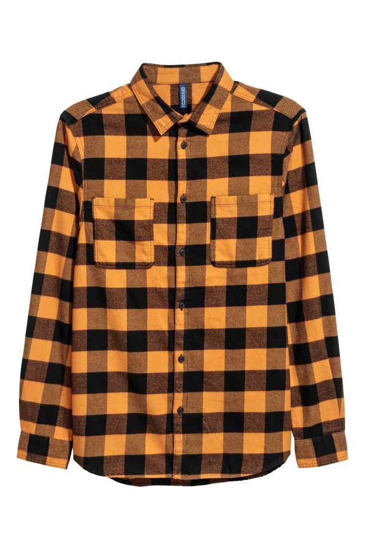 Camisa de franela - Amarillo león/Cuadros negros - HOMBRE | H&M ES