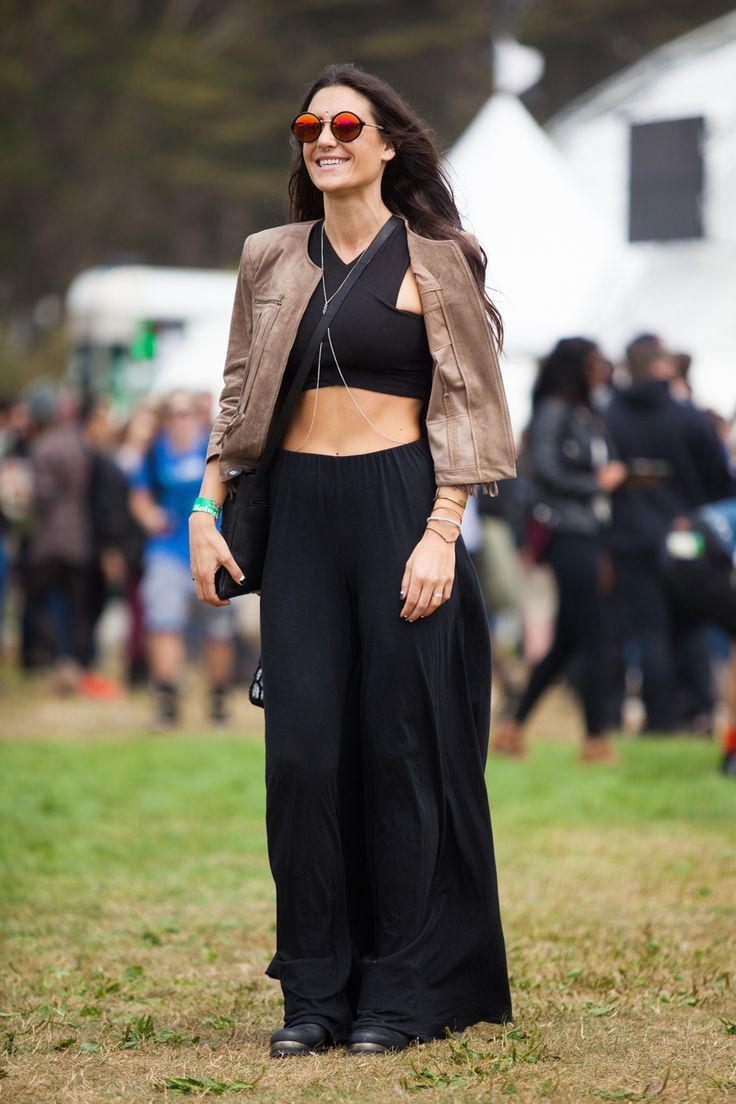 30+ Stylish Folks Spotted At Outside Lands #refinery29  http://www.refinery29.com/outside-lands-street-style#slide8  Who said black was boring? Alyssa Casarotti jazzes up her noir Free People pants with an LF top and BCBG jacket.