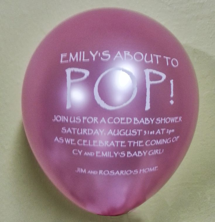 Emily is about to pop baby shower balloon invitations custom printed balloons pinterest