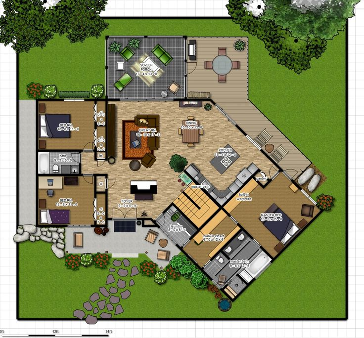 57 best floor plans images on pinterest for Split level house plans with walkout basement