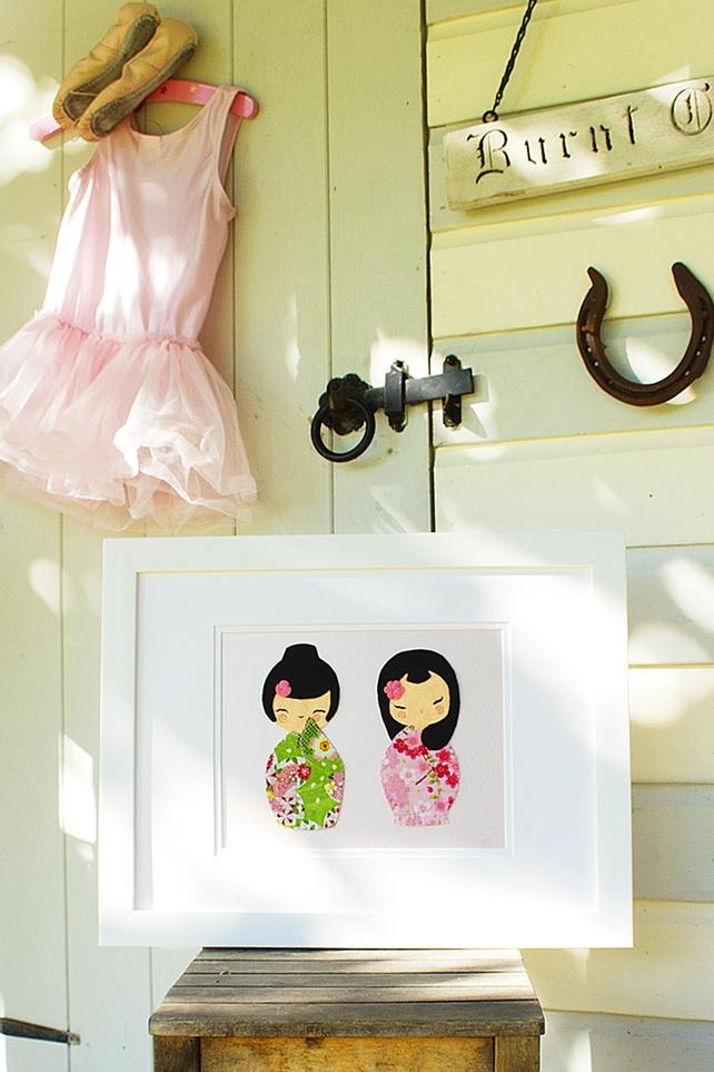 """Nursery Wall Art, Kokeshi Doll Framed Picture - """"Keiko & Koko Best Friends"""" £55.00"""